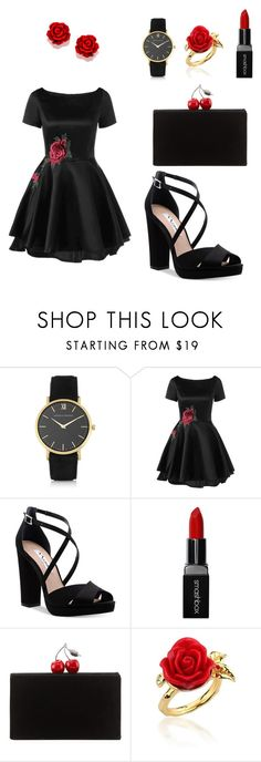 """""""My First Polyvore Outfit"""" by fashionam45 ❤ liked on Polyvore featuring Larsson & Jennings, Nina, Smashbox, Edie Parker and Disney Couture"""
