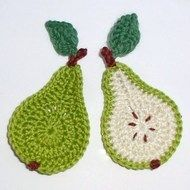 2 Green and cream crochet applique pears 2 Green and cream crochet applique pears Crochet Fruit, Crochet Food, Crochet Kitchen, Love Crochet, Crochet Motif, Crochet Designs, Crochet Crafts, Crochet Doilies, Easy Crochet