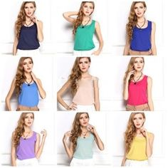 2017 New Cool Chiffon Tank Tops women Solid Color Plus size Summer Style base tees Cheap Blouses, Shirt Blouses, Blouses For Women, T Shirt, Color Caramelo, Casual Tops, Plus Size Women, Chiffon Tops, Ideias Fashion