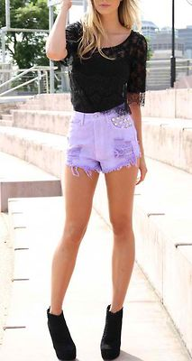 lilac studded high-waisted shorts w black lacey top. hey, spring, heeyyyy