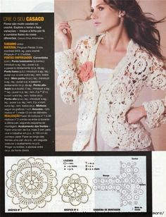 Irish lace, crochet, crochet patterns, clothing and decorations for the house, crocheted. Gilet Crochet, Crochet Coat, Crochet Cardigan Pattern, Crochet Jacket, Crochet Blouse, Crochet Clothes, Crochet Motif Patterns, Crochet Designs, Irish Lace