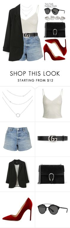 """NYFW #2"" by vany-alvarado ❤ liked on Polyvore featuring Topshop, Gucci, Manolo Blahnik, Christian Dior and NYFW"