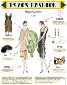 Step by step guide to dressing in a quality authentic flapper costume. Wit… Step by step guide to dressing in a quality authentic flapper costume. With handy infographic to help you dance into the roaring twenties. Flapper Outfit, 1920s Flapper Costume, Flapper Girls, Flapper Fashion, Fashion 1920s, Fashion Fashion, Roaring 20s Fashion, The Flapper, Dress Fashion