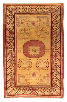A Samarkand rug - An early century Samarkand (Khotan) antique carpet, the ochre field with flowering branches around a central . Carpet Sale, Rugs On Carpet, Carpets, Agra, Extra Large Area Rugs, Tibetan Rugs, Fabric Rug, Kilim Rugs, Vintage Rugs