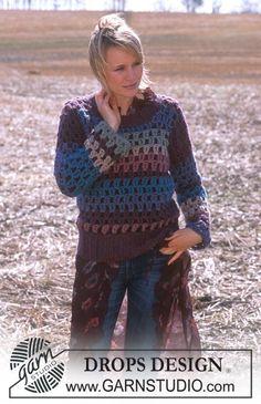 DROPS Gehaakte trui met strepen van Eskimo. Maat XS t/m XXL. Gratis patronen van DROPS Design.