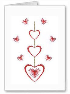 Create this romantic card with three hearts would be great to give for valentines day. String Art Tutorials, String Art Patterns, Embroidery Cards, Embroidery Patterns, Stitching On Paper, Iris Folding Pattern, Cute Sewing Projects, Sewing Cards, Thread Art