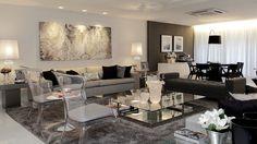Salas de estar, jantar e tv integradas e decoradas de preto, branco e cinza - maravilhosas!