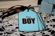 Baby Shower Gift Tags  Baby Boy Hand Stamped  by Booksonblocks, $3.95