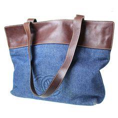 CHANEL-CC-Logos-Shoulder-Tote-Bag-Denim-Leather-Italy-Vintage-Authentic-3707