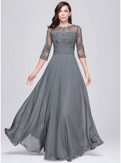 A-Line/Princess Scoop Neck Floor-Length Chiffon Tulle Evening Dress With Ruffle Beading Appliques Lace Sequins