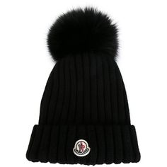 Moncler bobble top beanie (2 735 SEK) ❤ liked on Polyvore featuring accessories, hats, black, black beanie cap, black beanie, black beanie hat, ribbed beanie hat and bobble beanie