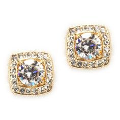 Nadri Framed Crystal Pavé Earrings #VonMaur #GoldandWhite
