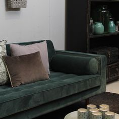 Bank Capetown Velvet van #X5home schittert in dit #interieur! #loods5 #bijloods5 #home #interior #groen