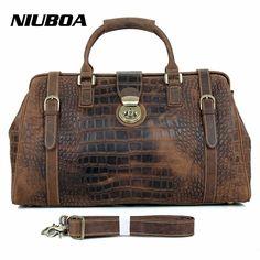 NIUBOA Men's Travel Bags Vintage 100%Genuine Leather Big Capacity Luggage Waterproof Weekend Duffle Cowhide Travel Shoulder Bags