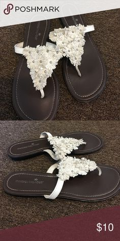 BUNDLE ONLY Cute Sandals Cream faux suede Floral design.  Simple and cute.  Only worn once. Shoes Sandals