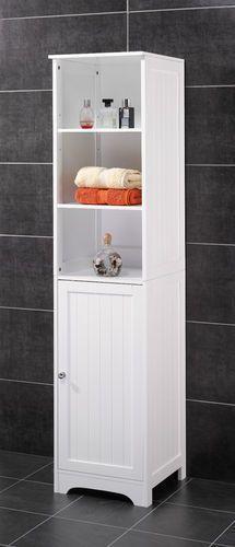 New England Bathroom Tallboy Shelf Unit - White