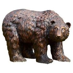 "Bear garden statue. Crafted of resin. Product: Garden sculptureConstruction Material: ResinColor: BrownDimensions: 16"" H x 25"" W x 12.5"" D  $93. joss and main"