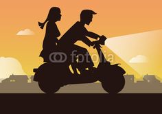 Couple in love at sunset on motorbike Illustration by Eric Scherrer Couples In Love, Scooters, Motorbikes, Adobe Illustrator, Sunset, Cars, Illustration, Movie Posters, Men And Women