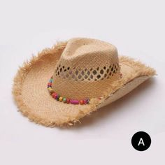 ed4c325d8fb Raw Edge straw cowboy hat for women Hollow wide brim sun hats with beaded