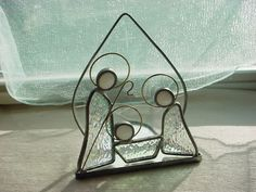 Vtg Christmas Nativity Stained Etched Glass Suncatcher Candleholder 5 inch