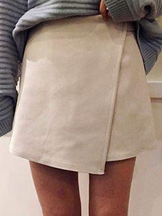 . . $18.89 White High Waist Wrap Suedette Pencil Skirt | Choies . .