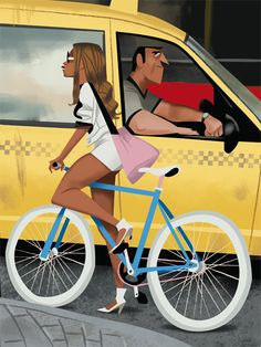 Bicycle Art / Yellow Cab Illustration by Thorsten Hasenkamm Bicycle Illustration, Digital Illustration, Character Illustration, Graphic Design Illustration, Sketch Manga, Arte Black, Theme Harry Potter, Bicycle Art, Cycling Art