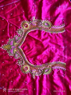 Kids Blouse Designs, Hand Work Blouse Design, Simple Blouse Designs, Blouse Neck Designs, Hand Embroidery Designs, Simple Embroidery, Wedding Saree Blouse Designs, Maggam Work Designs, Back Neck Designs