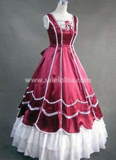 victourian ballgown | ... > Gothic Victorian Dresses >Deep Red and White Victorian Ball Gown