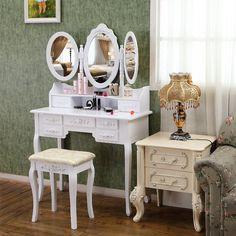 seelux schminktisch mit 3 spiegel und hocker 7 schubladen wei aus holz 145 x 90. Black Bedroom Furniture Sets. Home Design Ideas