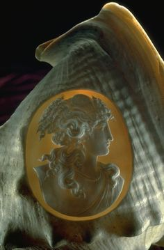 Cameo carved into conch shell (G1752) from the National Gem Collection