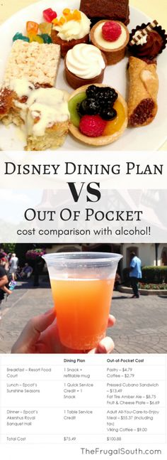 Compare the cost of the 2018 Disney Dining Plan (now with alcohol) to paying out of pocket for your food at Tips and tricks for deciding on the dining plan versus (vs) dining out-of-pocket Disney World Essen, Disney World Food, Disney World Restaurants, Disney World Planning, Walt Disney World Vacations, Disney Travel, Disney Worlds, Disney Parks, Family Vacations