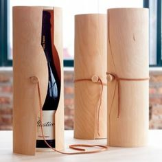 Birch Cylinder for wine bottles.... Wya cool!