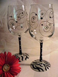 zebra wine glasses with swirls and polka dots   by DelightfulFinds, $35.00