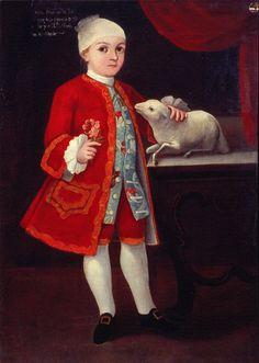 Anónimo, Retrato de don Juan Francisco de la Luz Hidalgo y su mascota, óleo sobre tela, sin medidas, ca. 1770-80, colección: Museo Nacional de Arte, CONACULTA-INBA, catalogación: Juan Carlos Cancino.