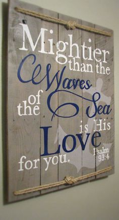 Anchor Decor for Bathroom Beautiful Nautical Psalm 93 4 Mightier Than the Waves Rustic Sign with Anchor and Rope Baby Boy Nautical Bathrooms, Nautical Nursery, Nautical Home, Anchor Bathroom, Navy Bathroom Decor, Vintage Nautical, Nautical Style, Nautical Room Decor, Nautical Curtains