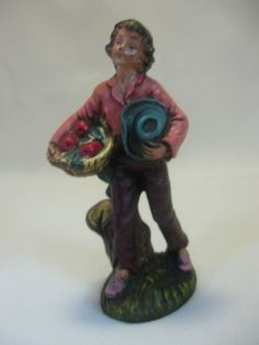 Figurine Boy Carrying Basket of Apples Holding Blue Hat Plastic Resin Italy