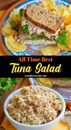 Make this quick and easy recipe for the All-Time Best Tuna Salad! Flakey tuna mixed with perfectly boiled eggs, crunchy celery and onions tossed in a . Tuna Sandwich Recipes, Best Tuna Salad Recipe, Tuna Fish Recipes, Canned Tuna Recipes, Easy Salad Recipes, Good Healthy Recipes, Lunch Recipes, Seafood Recipes, Southern Tuna Salad Recipe