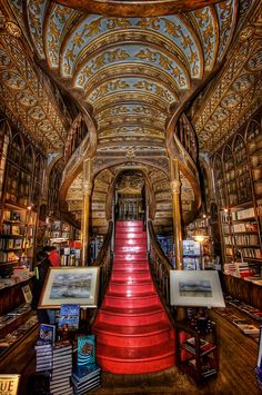 Portugal - Oporto : Lello Bookstore. Along with Bertrand in Lisbon, it is one of the oldest bookstores in Portugal ✉ Rua das Carmelitas 144, 4050-161 ✆ +351 222 002 037