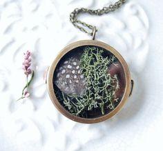 Terrarium Feather Moss Vintage Locket by NaturalPrettyThings