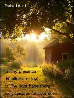 Psalm 16:11  11 Thou wilt shew me the path of life: in thy presence is fulness of joy; at thy right hand there are pleasures for evermore.