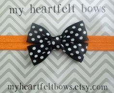 Halloween headband with black and white polka by myheartfeltbows, $5.00