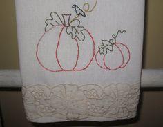 Hand Embroidered Dish Towel Pumpkin Patch by handmadebygiovanna
