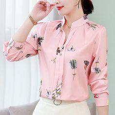 Women's blouse office chiffon blouse shirt casual tops plus size blusas mujer de moda 2019 White blouses White Shirts Women, Blouses For Women, White Blouses, Pink Blouses, The Office Shirts, Chiffon Shirt, Chiffon Fabric, Chiffon Blouses, Chiffon Material