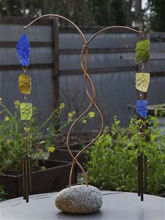 Wind Chime Freestanding Beach Stone Sea Glass