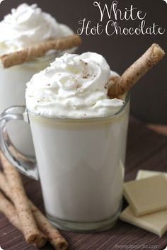 Vanilla Hot Chocolate  4 cups milk of choice   1 tsp vanilla extract   8 oz. white chocolate, chopped into small pieces   Whipped Cream for topping     1. Stir together milk, chocolate and vanilla in small saucepan.  2.Stir until the it comes to a simmer. (Do not let it come to a boil.)   3. Remove from heat and serve immediately, topped with whipped cream.  A delicious change to hot chocolate!