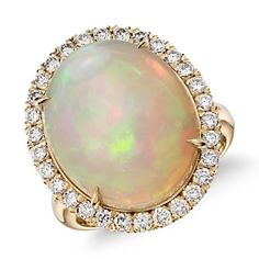 Opal and Diamond Halo Split Shank Ring in 18k Yellow Gold (8.20 ct center) | Blue Nile