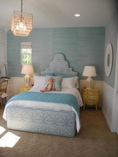 Pacific Family Homes - girl's rooms - Phillip Jeffries Bermuda Hemp Turquoise Grasscloth Wallpaper, chair rail, beadboard, blue, upholstered, bed, matching, twin, yellow, vintage, nightstands, chests, ivory, lamps, grasscloth wallpaper, blue grasscloth, blue grasscloth wallpaper, Phillip Jeffries Bermuda Hemp Turquoise Grasscloth Wallpaper,