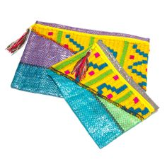 Cosmetic and toiletry pouches made by Wayuu artisans in Colombia.
