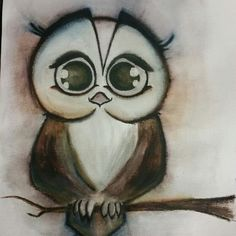 Cut crazyowl, drawn with Akvarell and charcoal. Fore sale