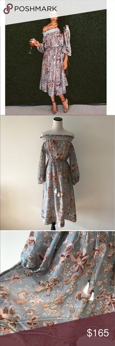 """Floral Off Shoulder Pavilion Smock Dress 0/1/2 NWOT. Zimmermann Floral Off-the-Shoulder Pavilion Smock Dress. in size 0,1,2. 💯 AUTH or full refund. Please be familiar with Zimmermann sizes. This style runs bigger. 0/S, 1/M, 2/L.  Model is 5'6"""", 128lb, 34C, 27"""" waist, 35"""" hip, she wears 1. Cotton/ silk blend • Smocked off-shoulder neckline • Long sleeves, elasticated cuffs • Detachable tasseled waist tie • Faggoting insert hem trim • Dry clean only Zimmermann Dresses Midi"""